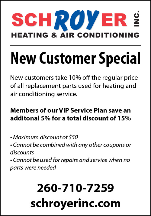 New Customer Discount from Schroyer Inc. Heating and Air Conditioning.