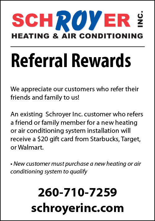 Customer Referral Coupon from Schroyer Inc. Heating and Air Conditioning.